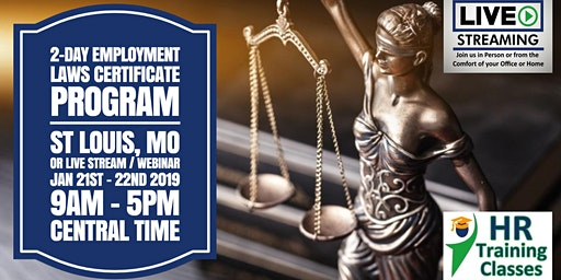2 Day Employment Laws Certificate Program (Starts 1/21/2020)