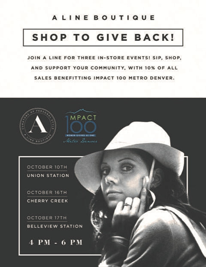 """A Line Boutique is hosting """"Sip & Shop"""" to Support Impact100 Metro Denver! image"""