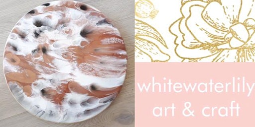 #imadeitmyself  -  Lazy Susan Resin Art with White Waterlily