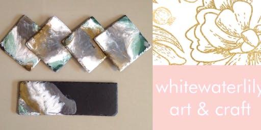 #imadeitmyself  -  Resin slate platters  with White Waterlilly