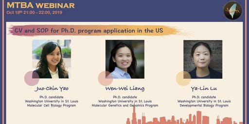 MTBA webinar: CV and SOP for Ph.D. program application in the US