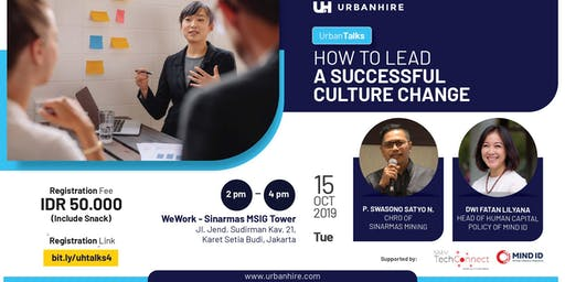 """[PAID HR EVENT] UrbanTalks """"How to Lead a Successful Culture Change"""""""