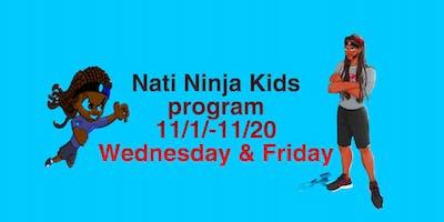 Nati Ninja Kids Program ages 5-14 Wednesdays & Fridays