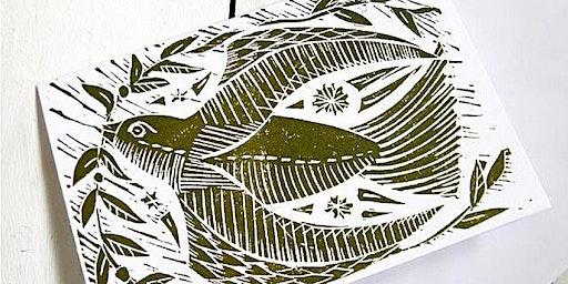 Festive Lino Print at CassArt Liverpool