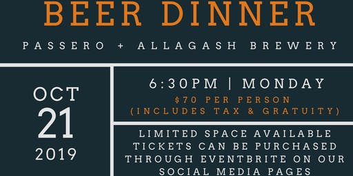 ALLAGASH BEER DINNER