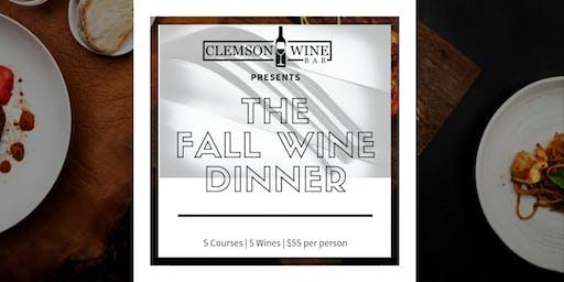 Clemson Wine Bar Fall Wine Dinner