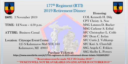177th Regiment RTI 2019 Retirement Dinner