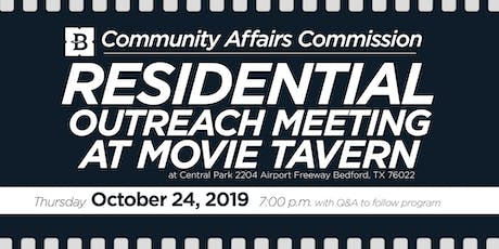 October 24, 2019 Residential Outreach tickets