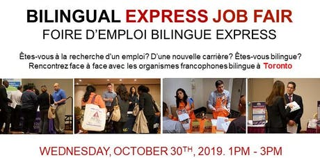 TORONTO EXPRESS BILINGUAL JOB FAIR – October 30th, 2019 tickets