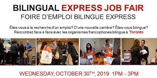 TORONTO EXPRESS BILINGUAL JOB FAIR – October 30th, 2019
