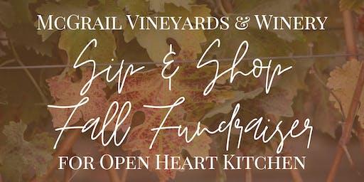 McGrail Vineyards Sip & Shop Fall Fundraiser for Open Heart Kitchen