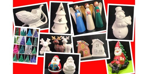 "Adult Open Paint & Go (18yrs+) ""Ceramic Christmas Trees"""
