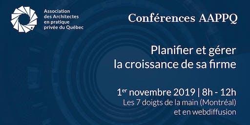 Conférences AAPPQ | Planifier et gérer la croissance de sa firme
