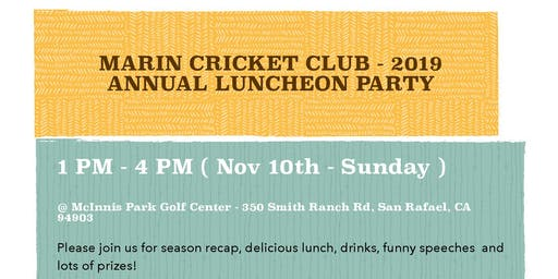 Marin Cricket Club Annual Luncheon - 2019
