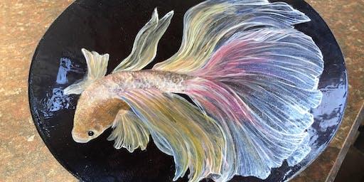 Painted Goldfish On Metal