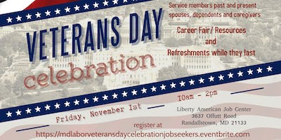 Veterans Day Celebration Friday November 1, 2019 (Job Seekers)