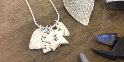 Beginners Silver Patterned Pendant or Earrings