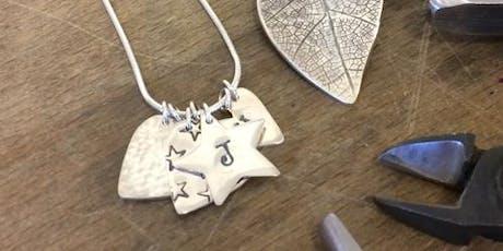 Beginners Silver Patterned Pendant or Earrings tickets