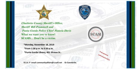 SCAMS Don't be a Victim! tickets