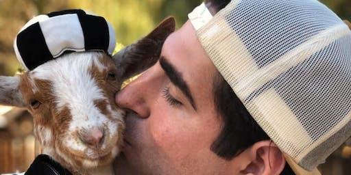 "Baby Goat ""Boo"" at Lavenderwood Yoga"