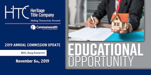 2019 Annual Commission Update -  $35 cash or check at the door