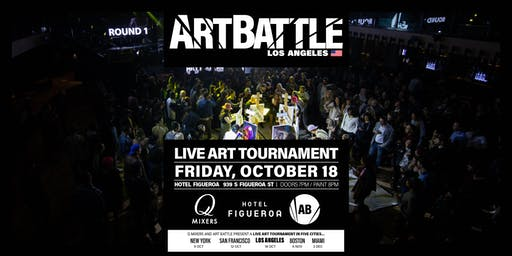 Art Battle Champions with Q-Mixers at Hotel Figueroa!