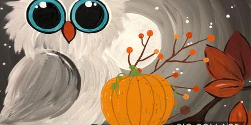 Adorable Owl and Pumpkin Paint Night