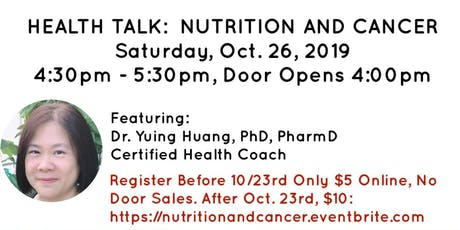 Nutrition and Cancer with Dr. Yuing Huang, PharmD, PhD, CHC tickets