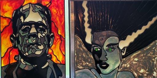 Monster Mash Paint Pour Window or Canvas