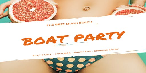 Miami Boat Party Jet-ski included + Open Bar & Party-bus