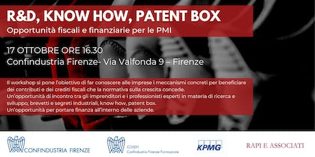 R&D, Know how, Patent Box biglietti