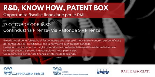 R&D, Know how, Patent Box