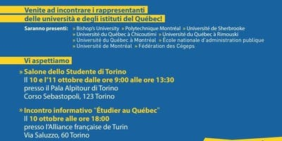 Incontro informativo Étudier au Québec presso Alliance Française di Torino