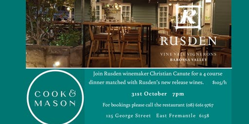 Rusden vintage release dinner at Cook & Mason