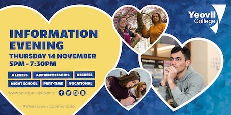 Yeovil College Information Evening - November 2019 tickets