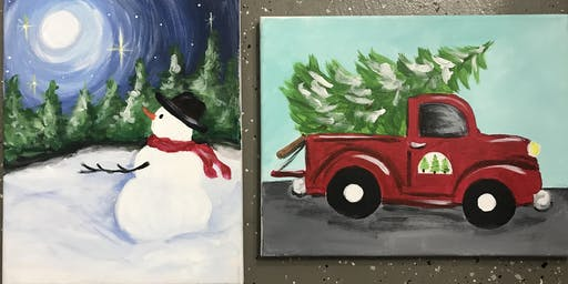 Snowman and the Moon / Christmas Truck Holiday Painting