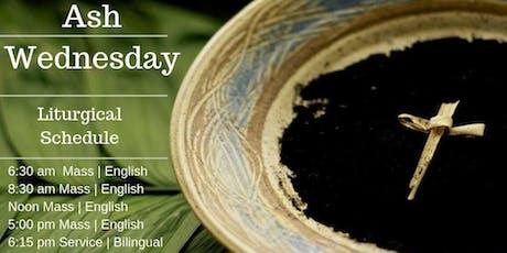 Ash Wednesday - Mass 6:30 am English tickets