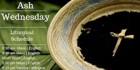 Ash Wednesday - Mass 5:00 pm English tickets