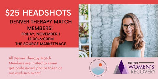 $25 Headshot Event!! All Denver Therapy Match Members!