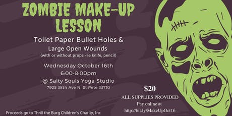 Zombie Make-Up Lesson - toilet paper bullet holes & Large Wounds tickets