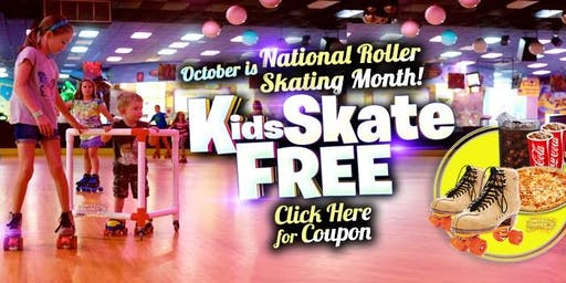 Kids Skate Free Saturday 10/19 /19 at 12pm (with this ticket)