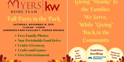Myers Home Team Fall Party in the Park & Community Food Drive