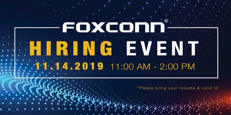 Foxconn Hiring Event - November 14, 2019 tickets
