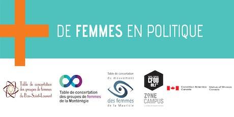 """Événement régional """"+ de femmes en politique"""" - Mauricie billets"""