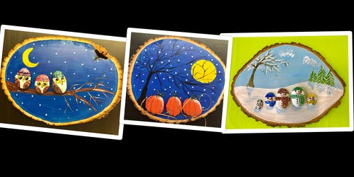 "Adult Open Paint (18yrs+)   ""Design Your Own 3D Stone Creations on a Wood Slice"""