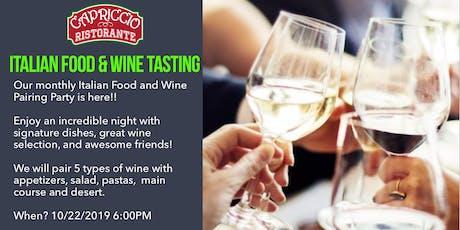 Italian Food & Wine Tasting tickets