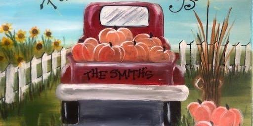 Fall Red Truck Paint Night Class