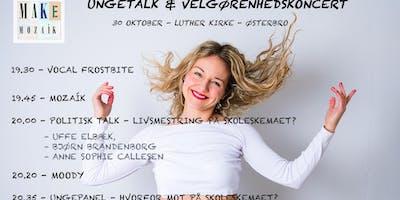 MAKE MOZAÍK præsenterer: Ungetalk og velgørenhedskoncert med MOODY, Vocal frostbite og politikere