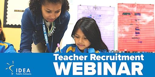 IDEA Public Schools: IDEA 101 Recruitment Webinar (Online)