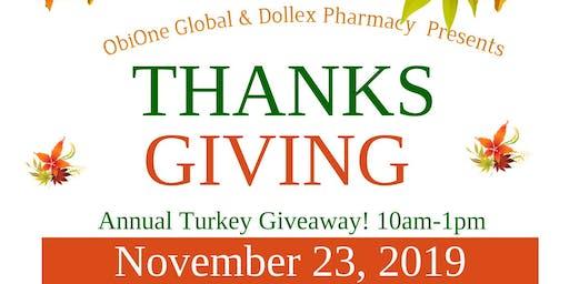 ObiOne Global & Dollex Pharmacy Annual Turkey Giveaway